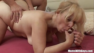 Saggy Breasted Blonde Mature..