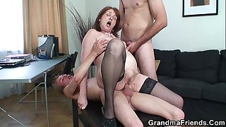Threesome office fucking..