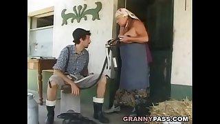 Busty Grandma Gets Stuffed..