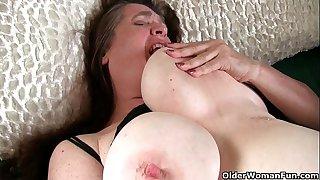 Grandma with big tits wakes..