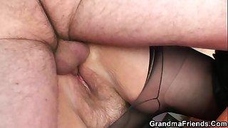 Grandma shallows two cocks..