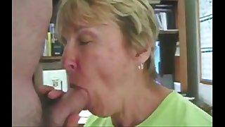 Grandma sucks her grandson's..