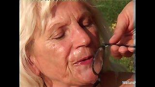 Blonde grandma fucks