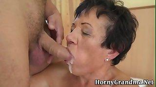 Grandma gets cum in mouth