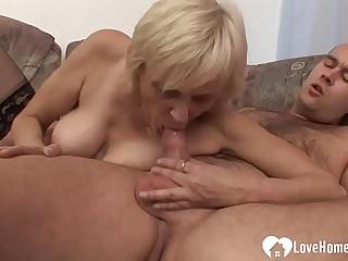 Luscious blonde granny takes..