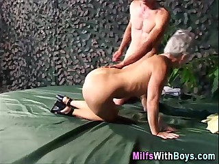 Grey Haired Granny Outdoor..