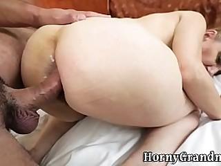Granny anal creampied