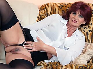 Horny granny pleasuring..