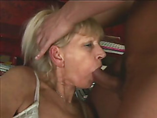 Blonde granny sucks and..