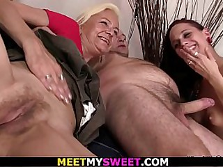 Teen and granny threesome sex
